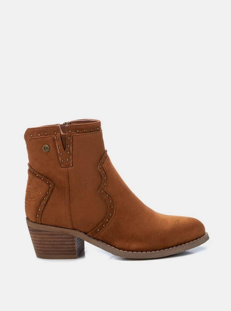 Xti Hnedé dámske členkové topánky v semišovej úprave Xti