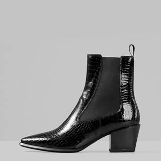 Čierne dámske kožené chelsea topánky s krokodýlím vzorom Vagabond