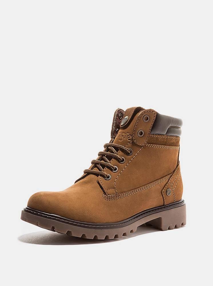 Wrangler Hnedé dámske kožené zimné topánky Wrangler