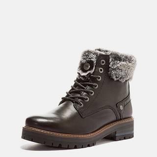 Tmavohnedé dámske kožené zimné topánky Wrangler