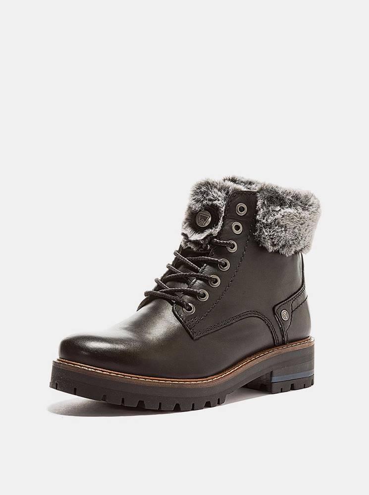 Wrangler Tmavohnedé dámske kožené zimné topánky Wrangler