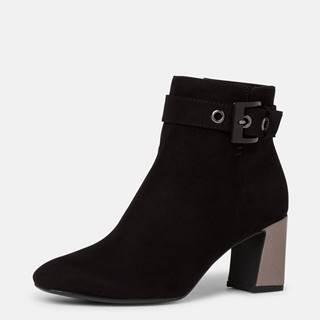 Čierne členkové topánky v semišovej úprave Tamaris