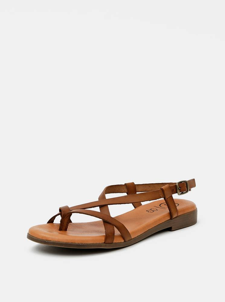 OJJU Hnedé kožené sandále OJJU
