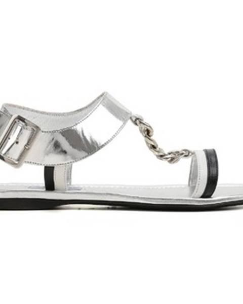 Strieborné sandále Prada