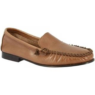 Mokasíny Leonardo Shoes  1303 VITELLO CAPPUCCINO