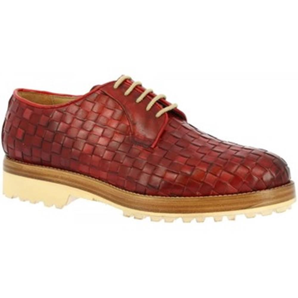 Leonardo Shoes Derbie Leonardo Shoes  1010_1 PE VITELLO ROSSO