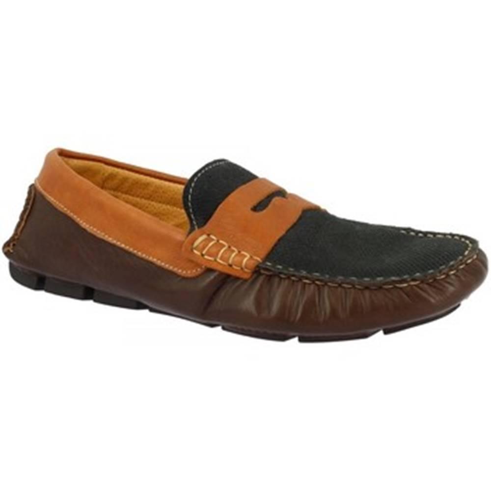 Leonardo Shoes Mokasíny Leonardo Shoes  503 T. M/ BLU/ BRANDY