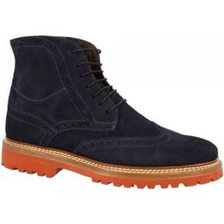 Polokozačky Leonardo Shoes  4711 CAMOSCIO GRAIN BLU