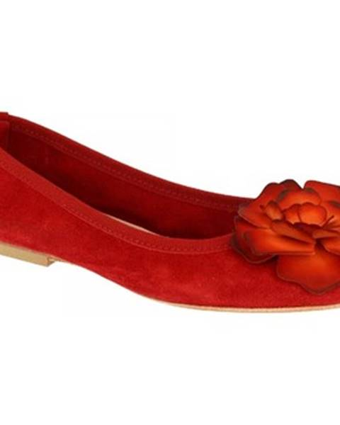 Červené balerínky Leonardo Shoes
