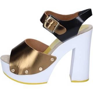 Lodičky Suky Brand  sandali bronzo nero pelle BS19