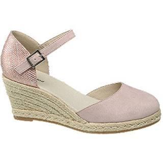Ružové sandále na klinovom podpätku