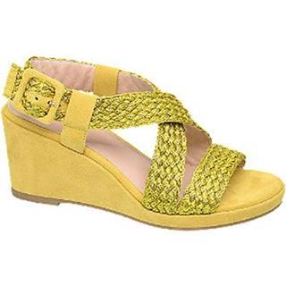 Žlté sandále na klinovom podpätku Rita Ora