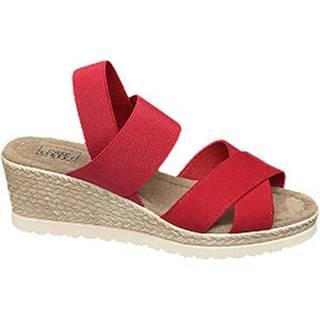 Červené komfortné sandále na klinovom podpätku Easy Street