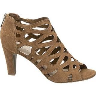 Hnedé kožené sandále na podpätku