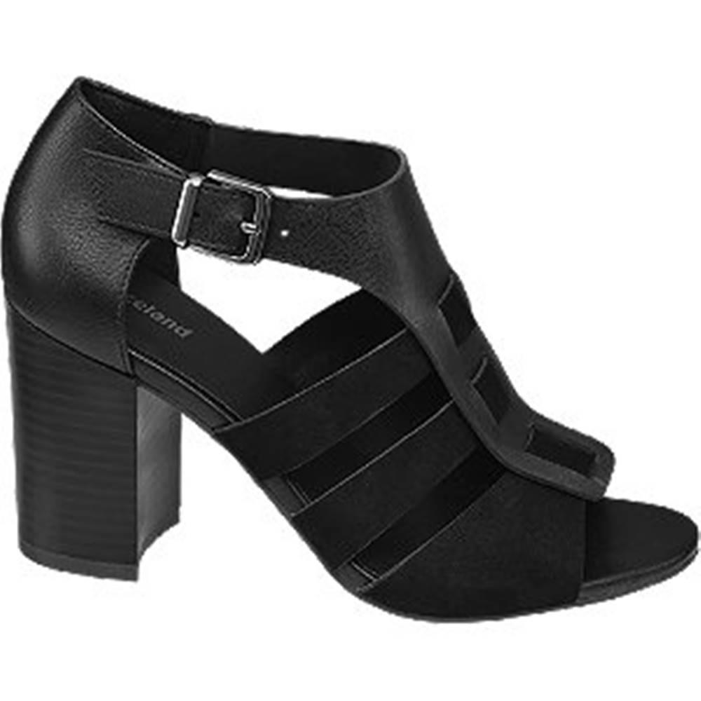Graceland Čierne sandále na podpätku