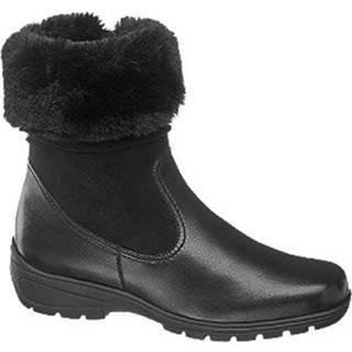 Čierne kožené komfortné členkové čižmy
