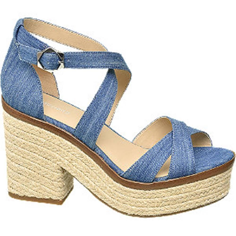 Graceland Modré sandále na podpätku Graceland