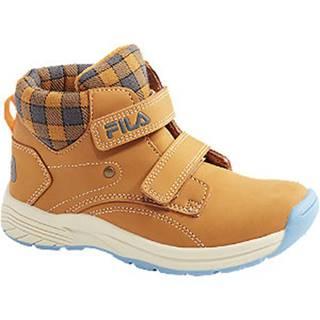 Žlto-hnedá členková obuv na suchý zips Fila