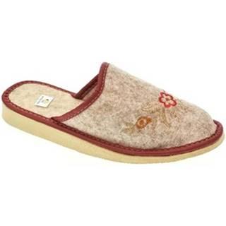 Papuče John-C  Dámske béžovo-červené papuče KVETY