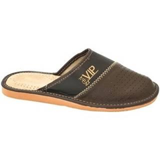 Papuče  Pánske tmavo-hnedé papuče VIPMEN