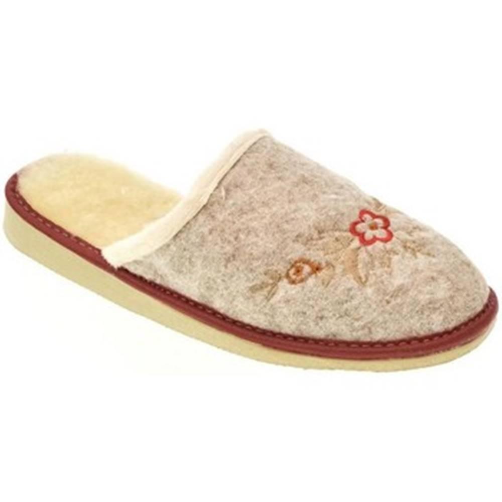 John-C Papuče John-C  Dámske béžovo-červené papuče KVETY