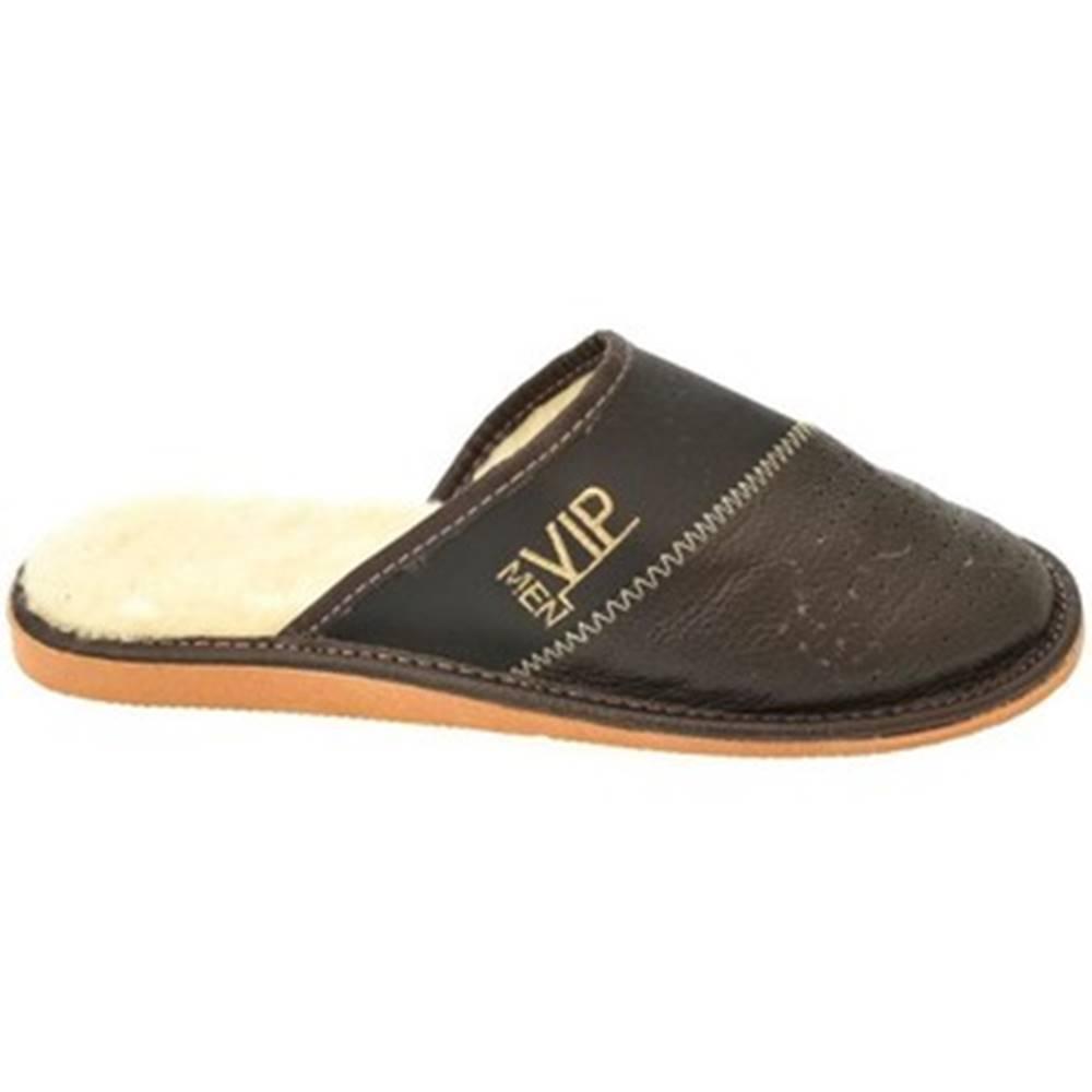 John-C Papuče  Pánske tmavo-hnedé papuče VIPMEN