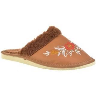 Papuče John-C  Dámske hnedé papuče KVET