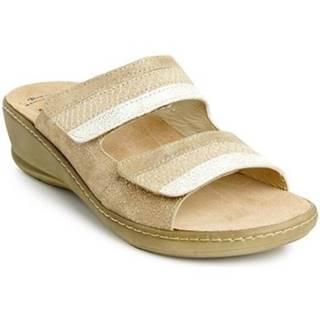 Sandále Batz  Dámske zlaté kožené šľapky HEDI