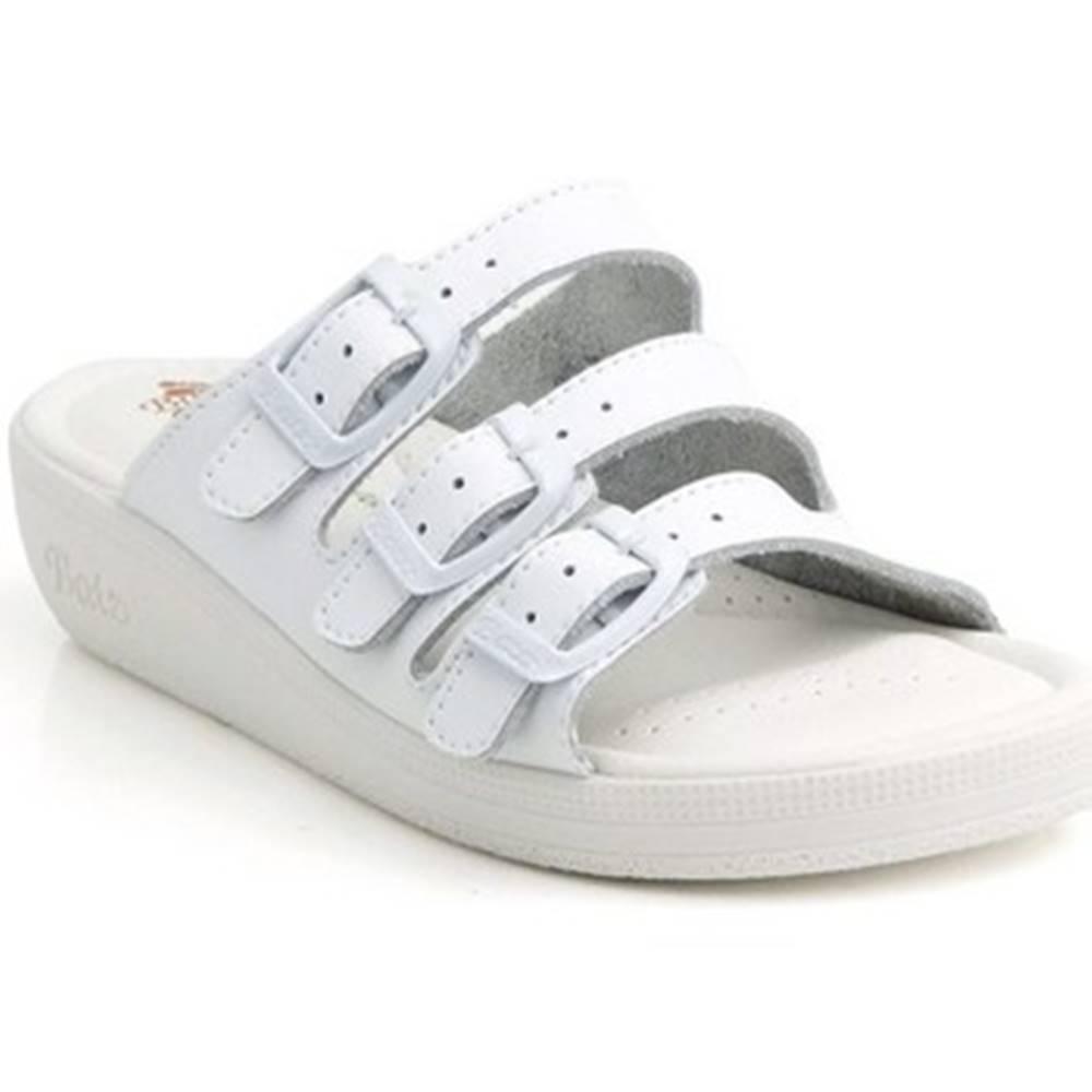 Batz Sandále Batz  Dámske kožené biele šľapky 3BCS