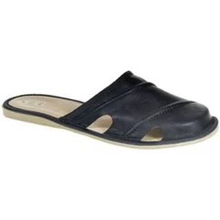 Nazuvky John-C  Pánske kožené tmavo-modré papuče RIK