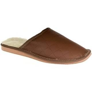 Papuče John-C  Pánske hnedé papuče LINES
