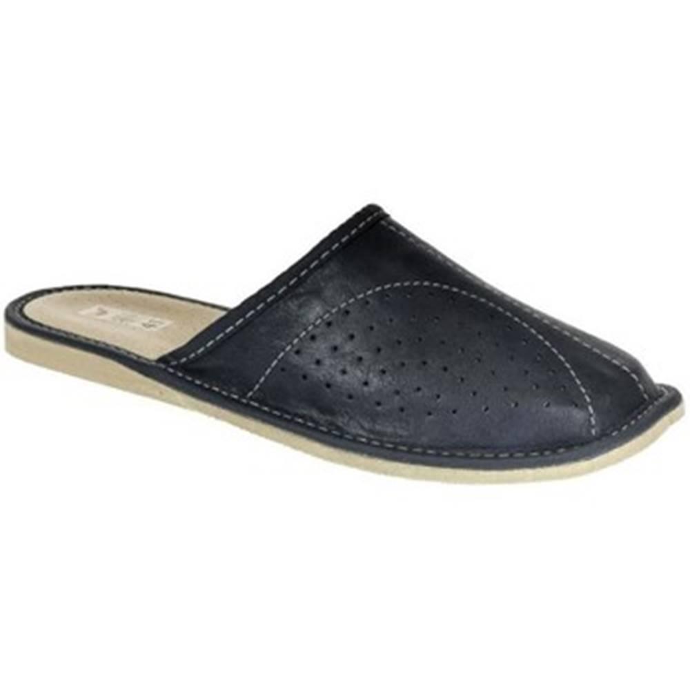 John-C Nazuvky John-C  Pánske kožené tmavo-modré papuče RICH