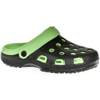 Nazuvky John-C  Pánske čierno-zelené crocsy BLAKE