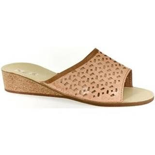 Papuče John-C  Dámske svetlo-hnedé papuče DOMINA
