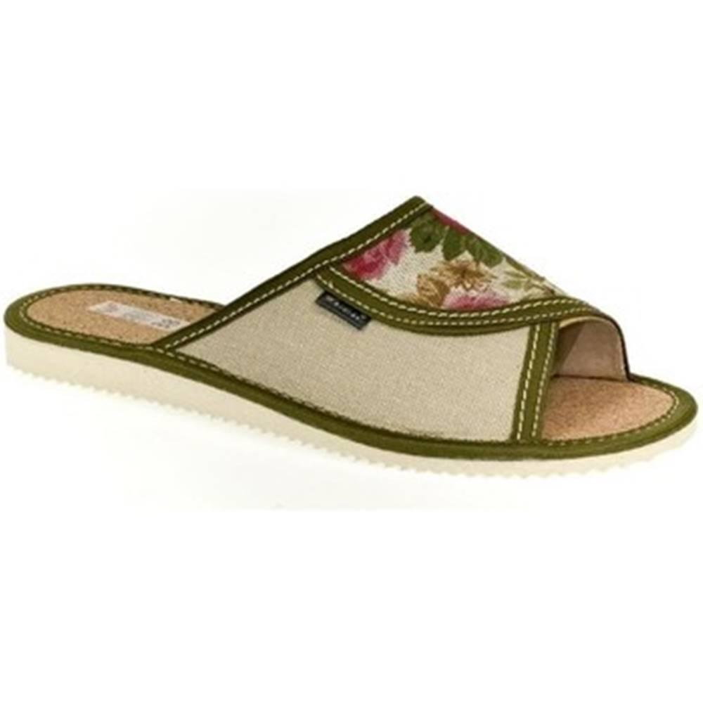 John-C Papuče John-C  Dámske zelené papuče KVETKA