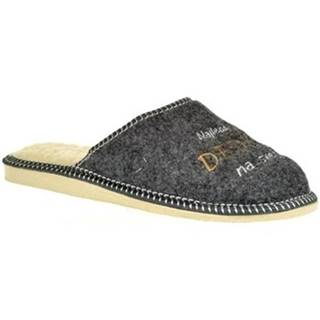 Papuče John-C  Pánske sivé papuče NAJ DEDKO
