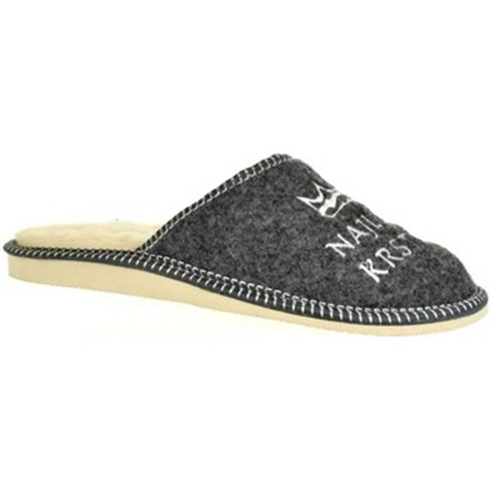 John-C Papuče John-C  Pánske sivé papuče NAJ KRSTNÝ