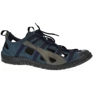 Sandále Krezus  Pánske modré kožené topánky VINCENT