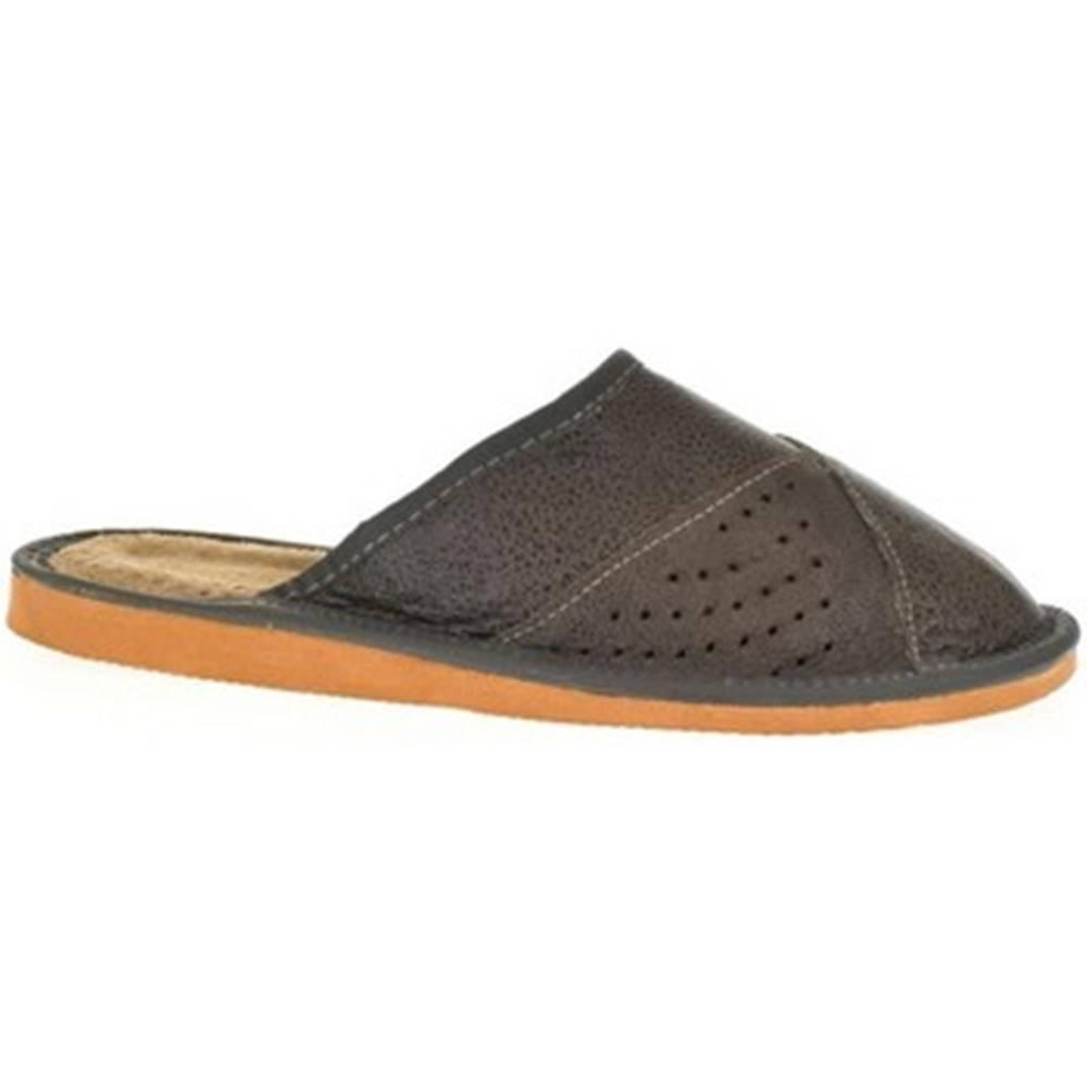 John-C Papuče John-C  Pánske tmavo-sive papuče ROY