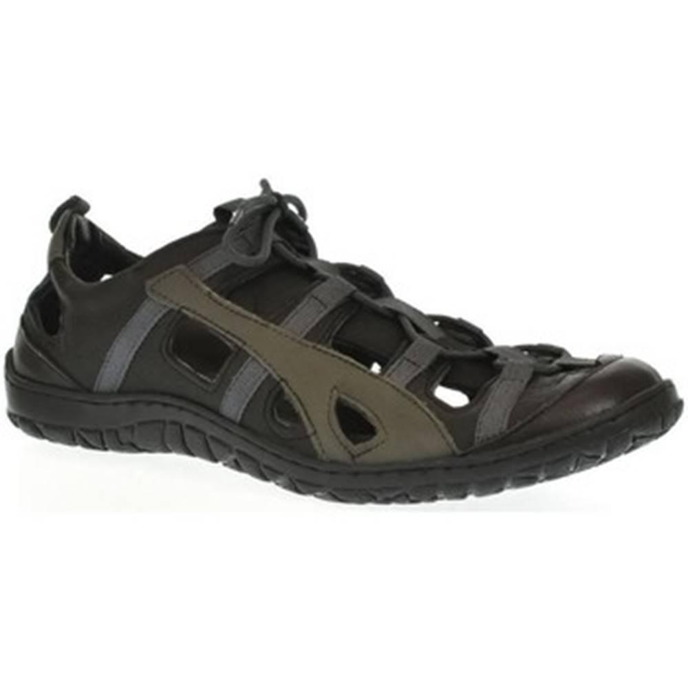 Krezus Sandále Krezus  Pánske sivé kožené topánky VINCENT