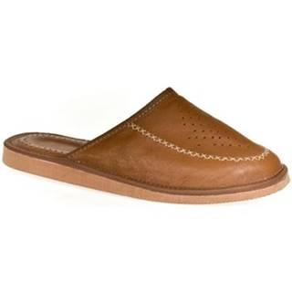 Papuče John-C  Luxusné pánske hnedé kožené papuče JOSEL