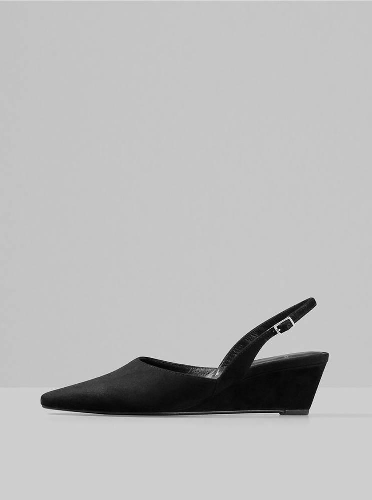 Vagabond Čierne semišové sandálky na plnom podpätku Vagabond Erica