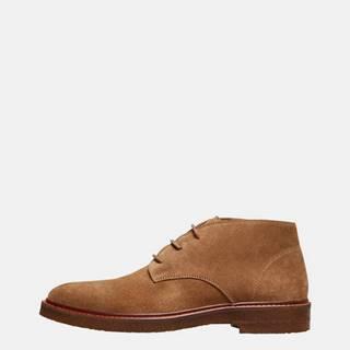 Hnedé semišové členkové topánky Selected Homme Luke