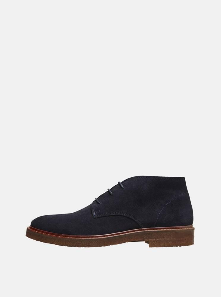 Selected Homme Tmavomodré semišové členkové topánky Selected Homme Luke