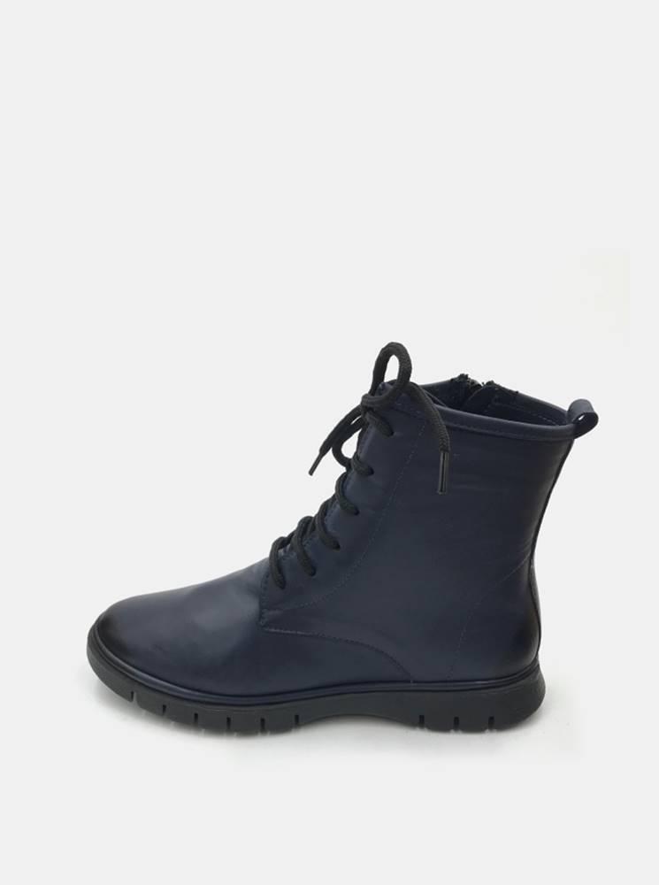 wild Tmavomodré dámske kožené členkové topánky WILD