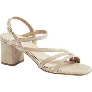Béžové kožené sandále na podpätku 5th Avenue