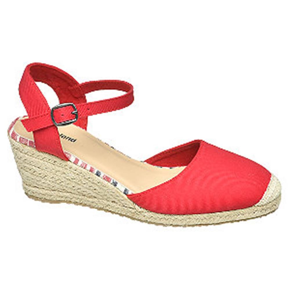 Graceland Červené sandále na klinovom podpätku Graceland