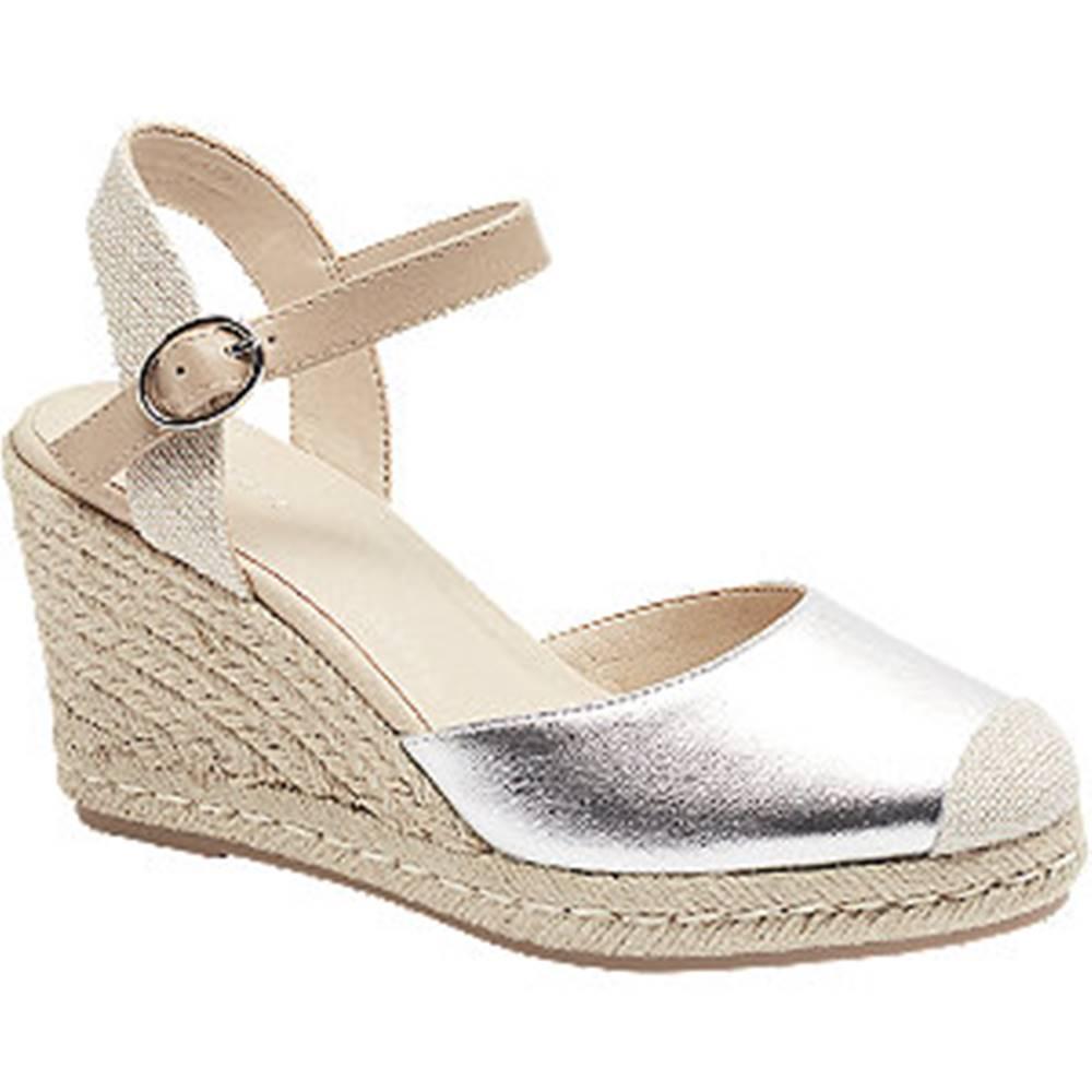 Graceland Strieborné sandále na klinovom podpätku Graceland