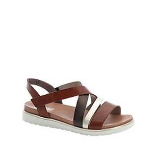 Hnedé kožené komfortné sandále na platforme Rieker