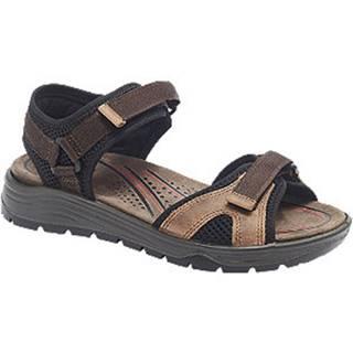 Hnedo-čierne kožené komfortné sandále Easy Street